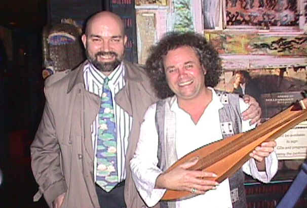 Bill Slater with Andreas Vollenweider -- Click to go to Bill's Home Page