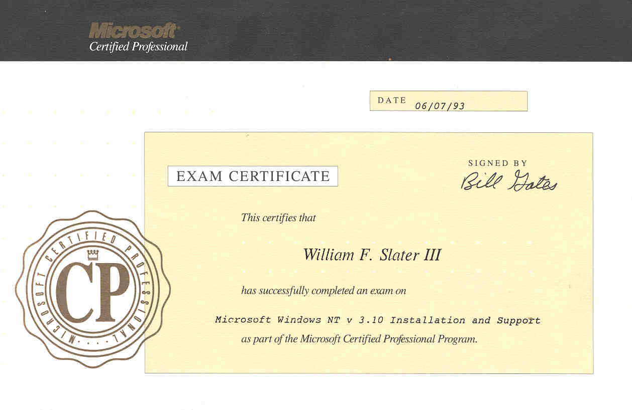 William f slater iii professional certifications xflitez Image collections