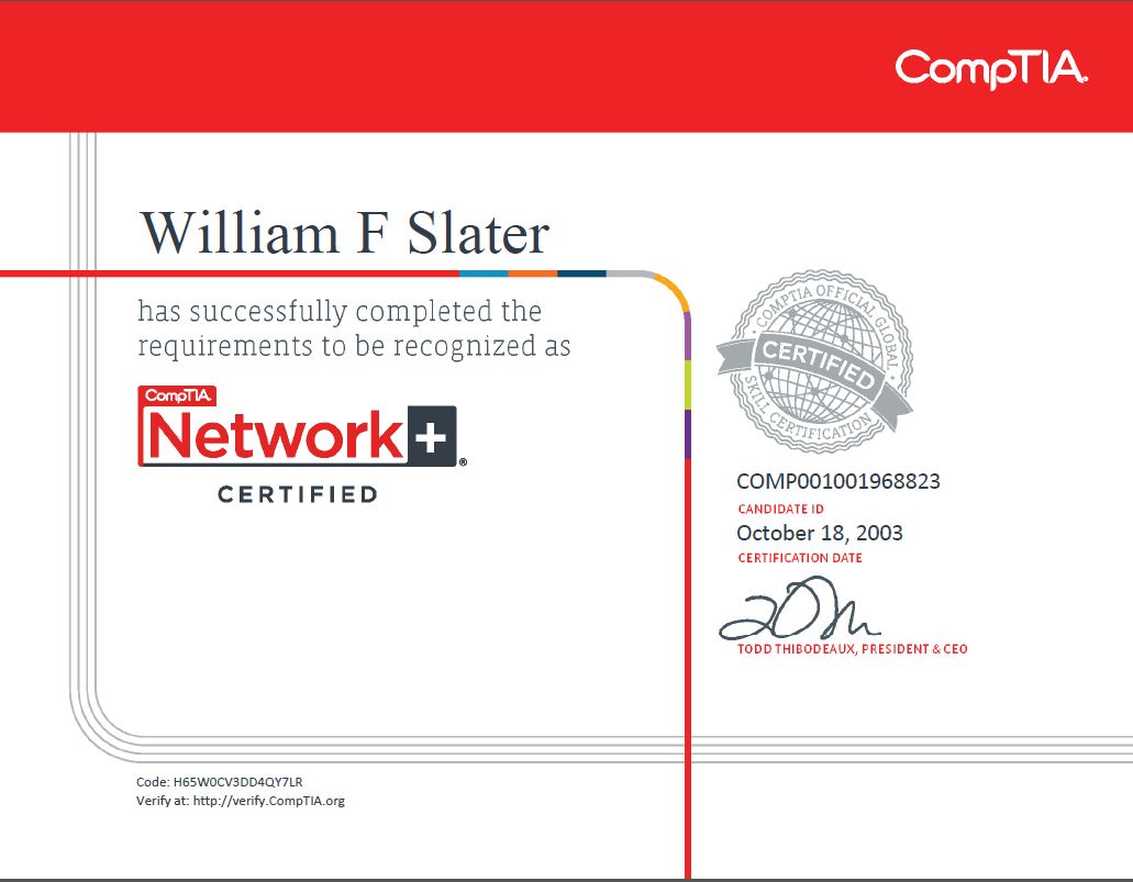 William f slater iii professional certifications network xflitez Image collections