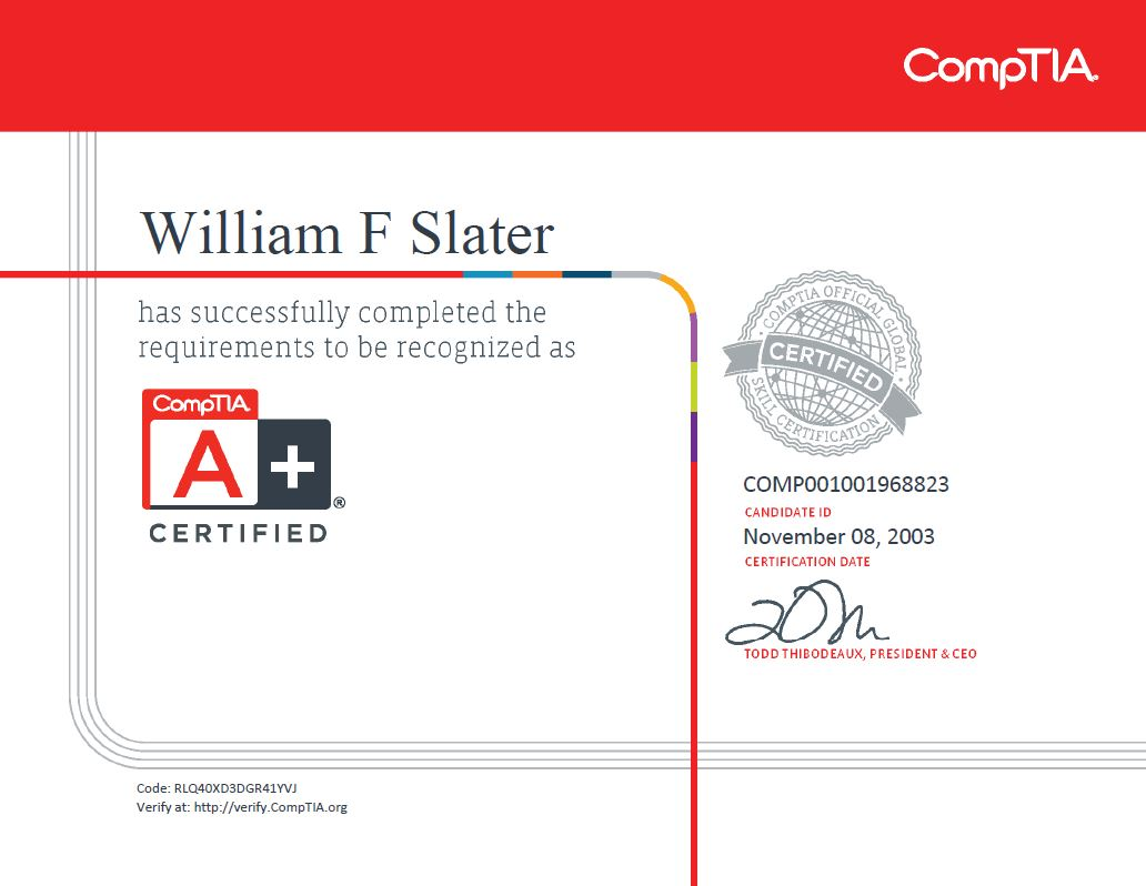 William f slater iii professional certifications a xflitez Gallery