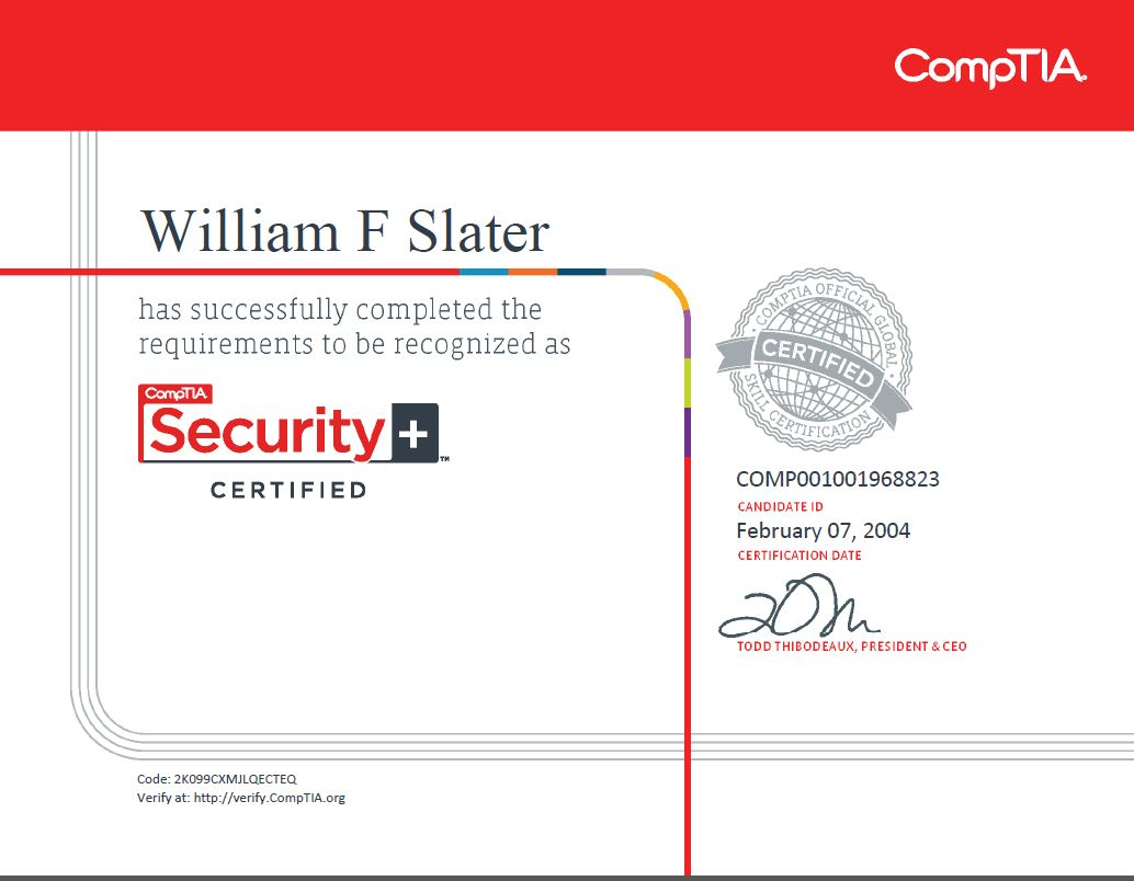 William f slater iii professional certifications security 1betcityfo Images