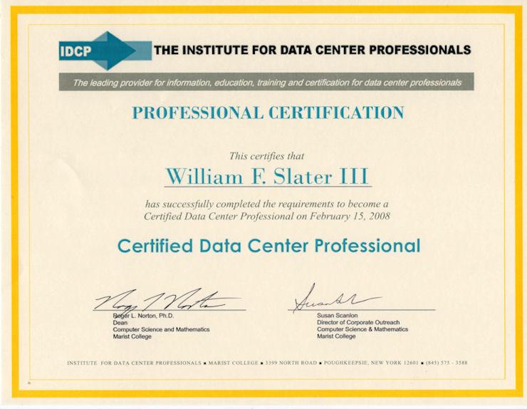 William F. Slater, III - Professional Certifications