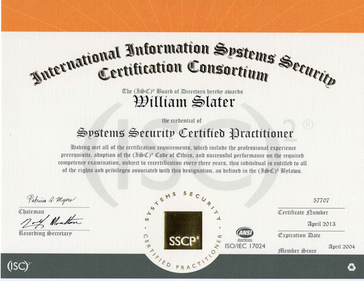 certifications security certified practitioner sscp isc certificate certification system