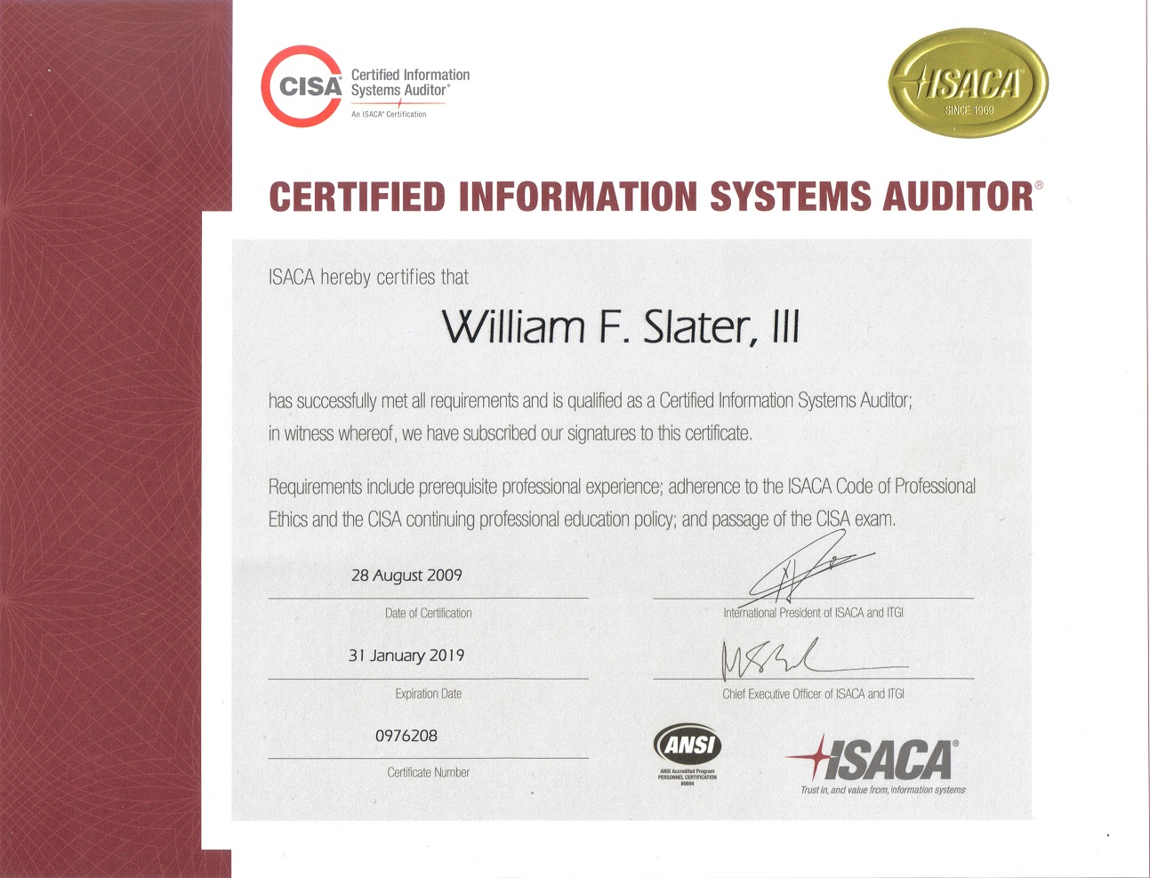 William f slater iii professional certifications cisa xflitez Choice Image