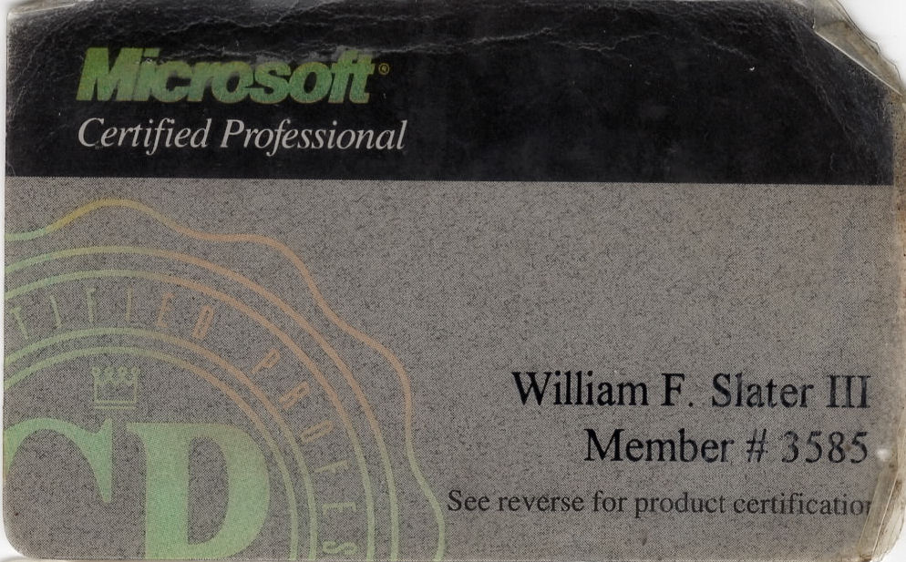 William F Slater Iii Professional Certifications
